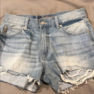 Light wash mid rise shorts